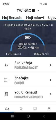Slika 5 Twingo ZE mobilna aplikacija